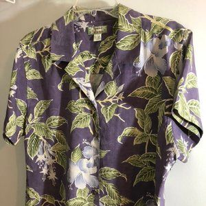 100% silk Hawaii  purple with blue flowers size L